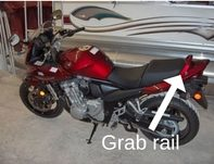 Motorcycle pillion passenger grab rail