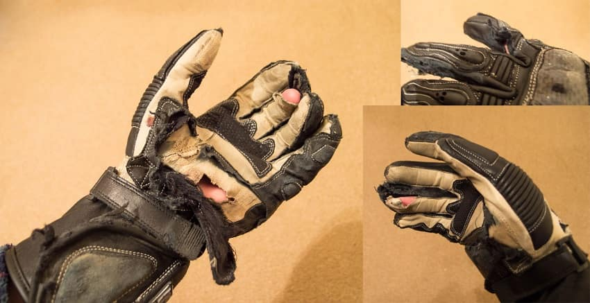 ripped motorcycle gloves