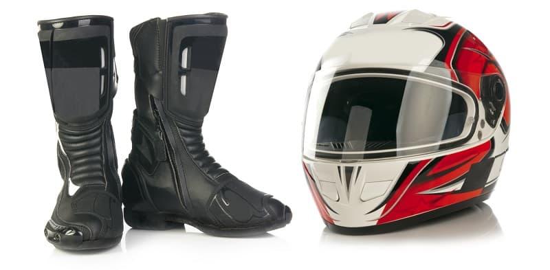 motorbike boots and helmet