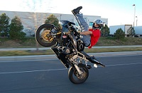 Motorbike doing wheelie
