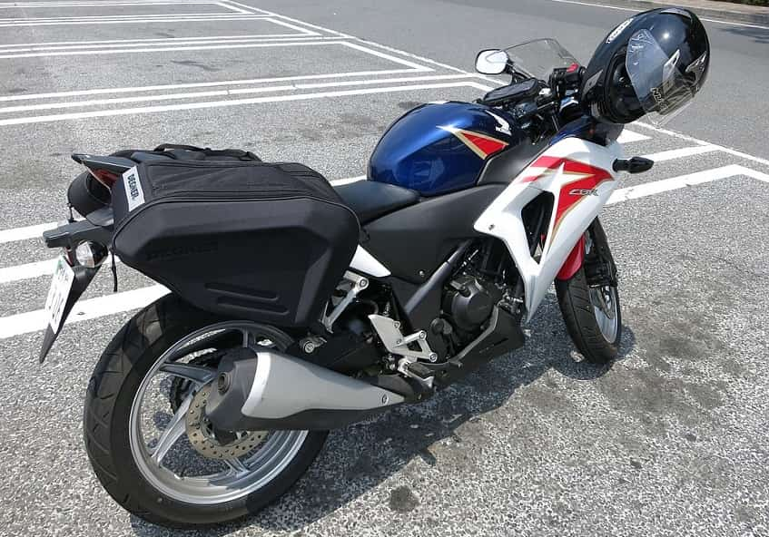 motorcycle loaded with saddlebags