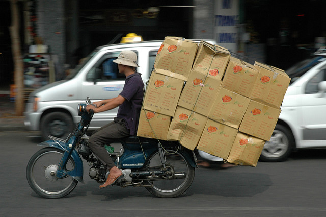 Motorbike overloaded with luggage