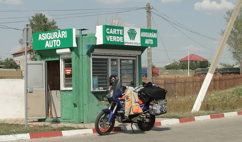 Motorbike at border crossing