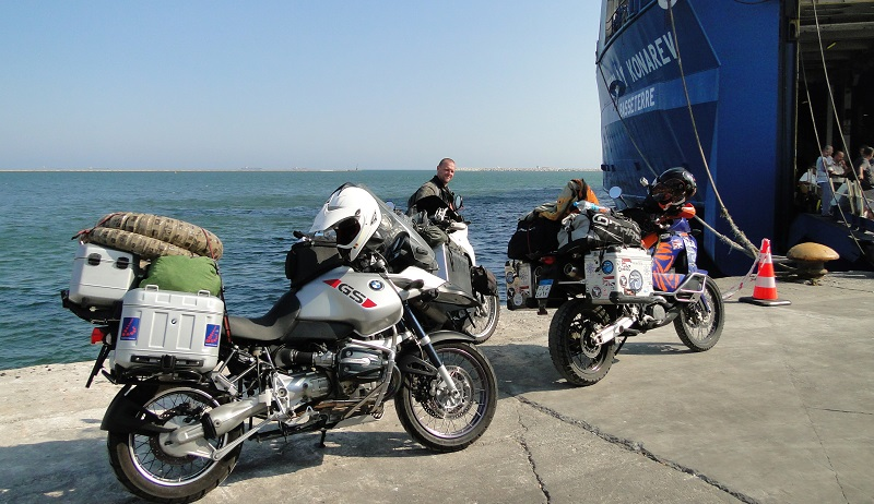 Ferry crossing with motorbikes