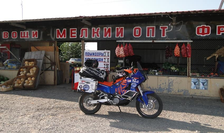Motorcycle outside restaurant