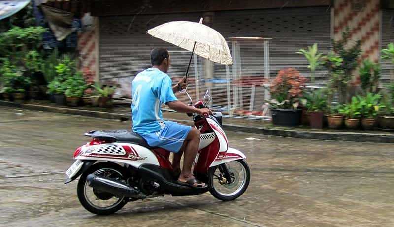 Riding motorcycle in rain