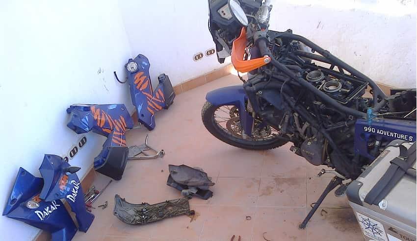motorbike stripped down