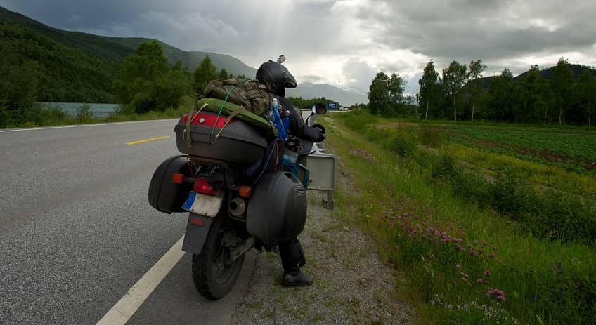 motorcycle loaded with luggage