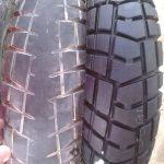 worn motorbike tyres