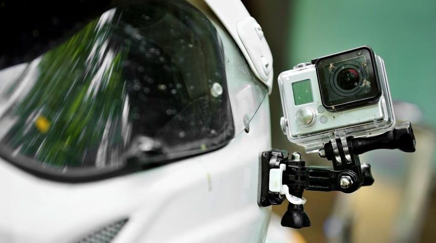 Camera mounted on motorbike helmet