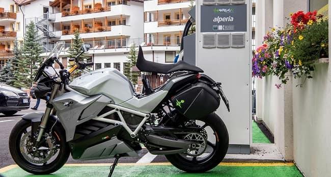 Motorcycle at charging point