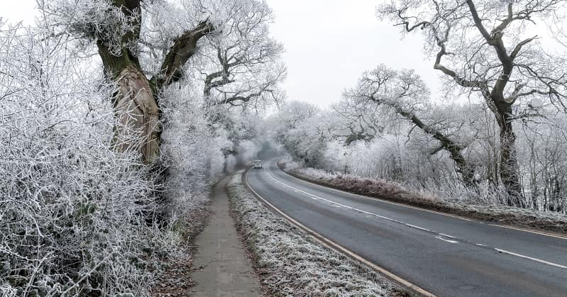 Snowy road in cheshire