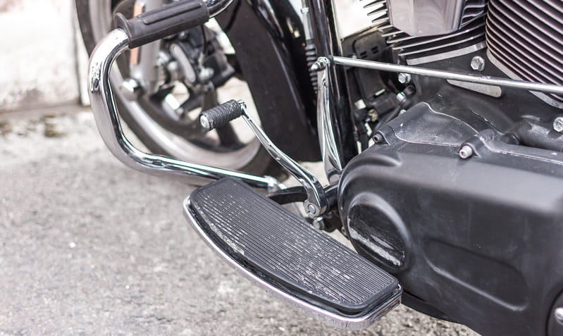Close up motorcycle gear shift