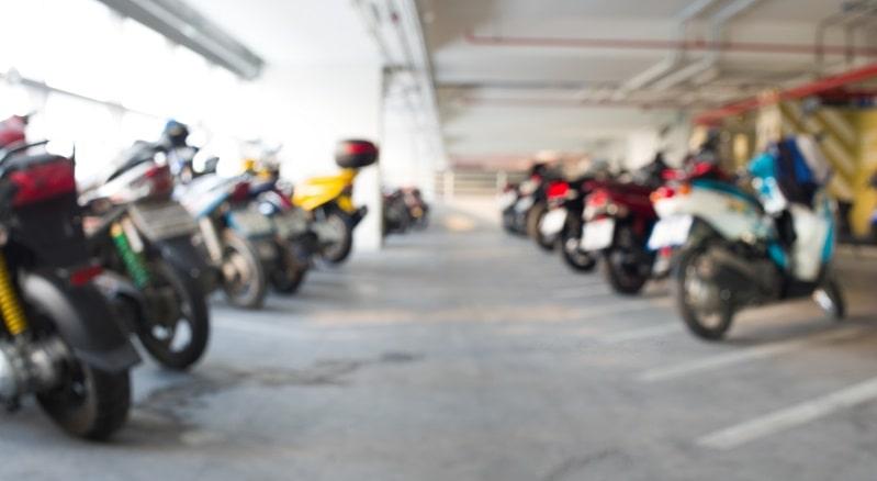 Motorbikes in car park