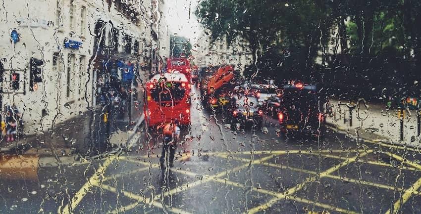 Rainy street scene in London