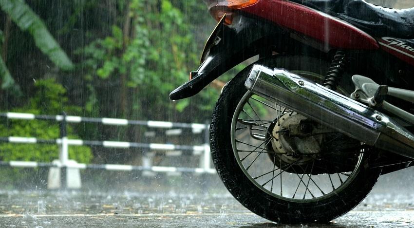 motorbike in rain